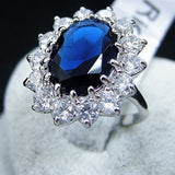 Elegant Blue Crystal Gemstone Alloy Ring