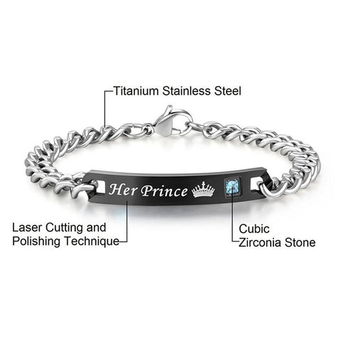 His Princess and Her Prince Stainless Steel Couple Bracelets