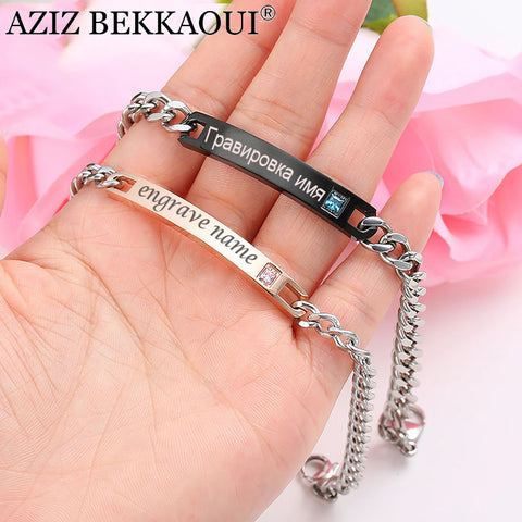 Personalized Stainless Steel Plate Couple Bracelets