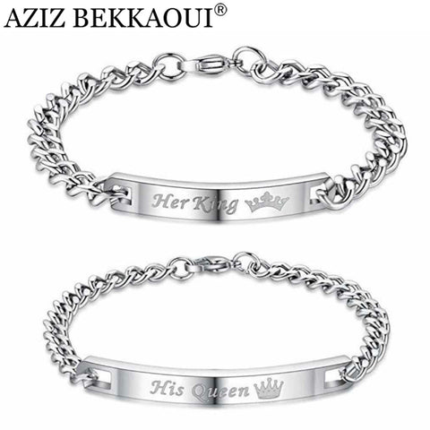 Silver Colored Her King and His Queen Couple Bracelets