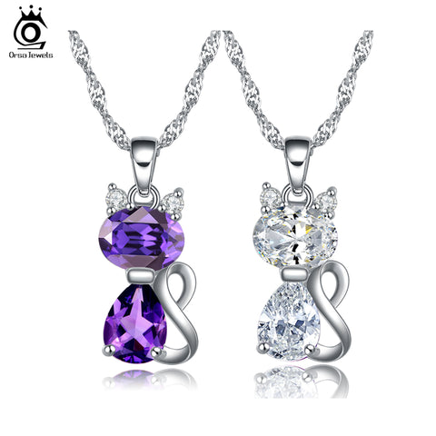 Twisted Chain Necklace with White Purple Zirconia Cat Pendant