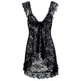Laced Front Open Sexy Sleepwear Black