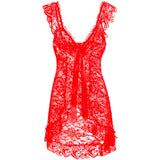 Laced Front Open Sexy Sleepwear Red