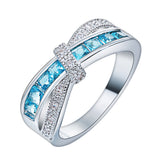 Beautiful Cross Finger Ring with Colored Cubic Zirconia