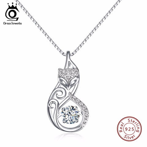 Chain Necklace with Gorgeous Zirconia Silvery Cat Pendant