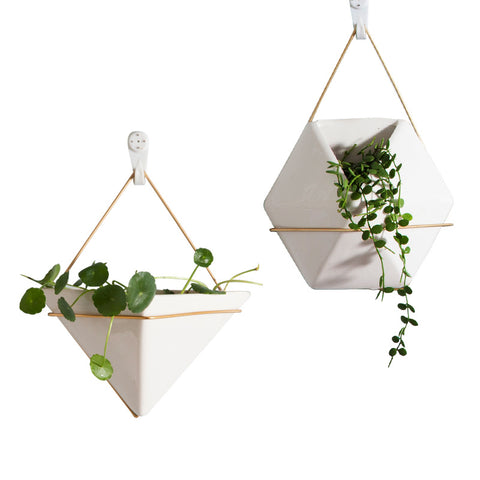 Nordic Ceramic Plant Pots with Gold Metal Hanging Strap
