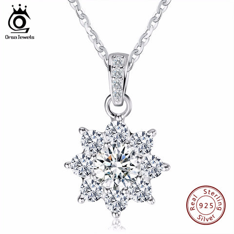 Silver Chain Necklace with Zirconia Snowflake Pendant
