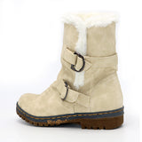 Charming Stylish Fur and Strap Ankle High Boots