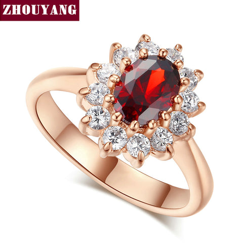 Copper Ring With Red Crystal Gemstone and Clear Crystals Accent