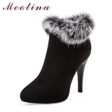 Stunning High Heel Ankle Boots with Real Rabbit Fur