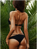 Two-Piece Bikini Swimwear with Sexy Black Crisscross Strings