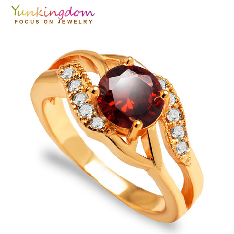Gold Color Ring with Big Colored Cubic Zirconia