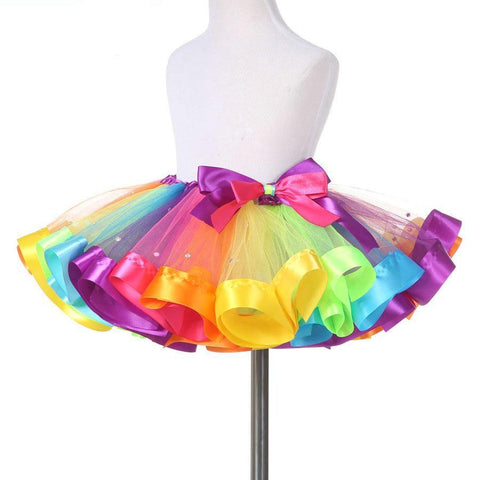 Kids Rainbow Colors Tutu Dress with Crystal Beads Accent