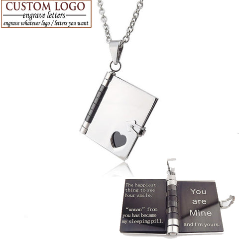 Classic Long Necklace with Personalized Engraving Steel Book Pendant