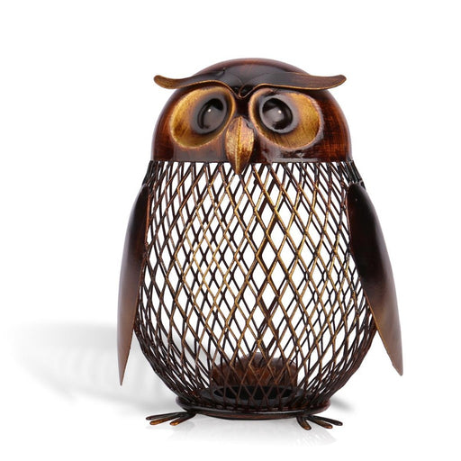 Owl Metal Piggy Bank Money Saving Box