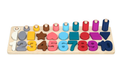 Number puzzle logarithmic board building blocks - eBabyZoom