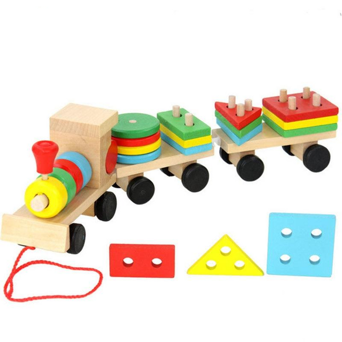 Montessori Wooden Train Cognitive Blocks