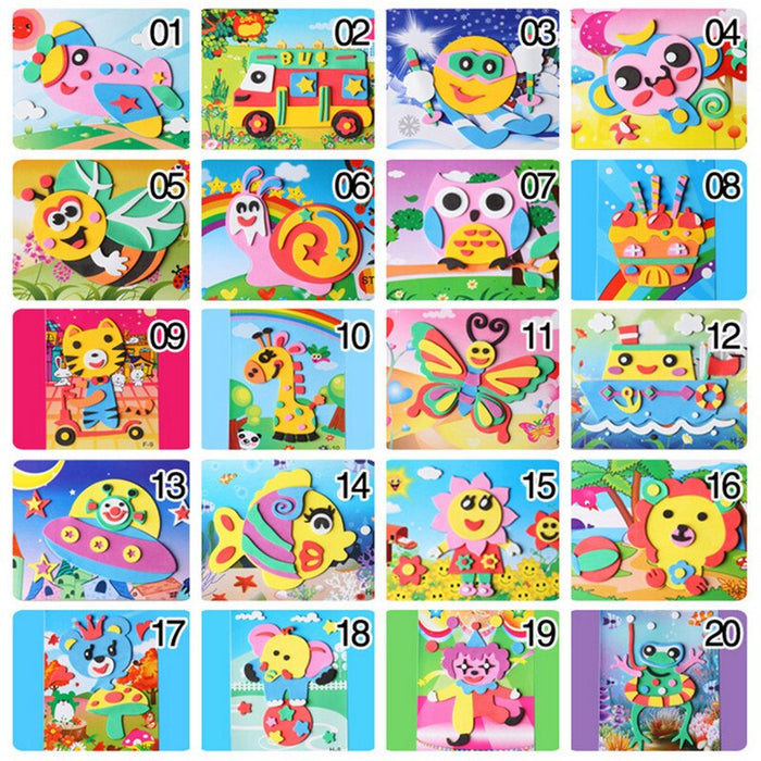 Happyxuan 20 Designs 3D Eva Foam Craft Sticker DIY Puzzle Baby Montessori Learning Education Toys for Kids 3-6 years - eBabyZoom