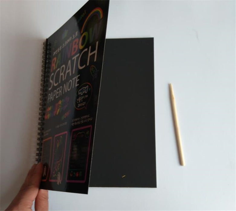 Happyxuan 19*26cm Large Magic Color Rainbow Scratch Paper Note book Black DIY Drawing Toys Scraping Painting Kid Doodle - eBabyZoom