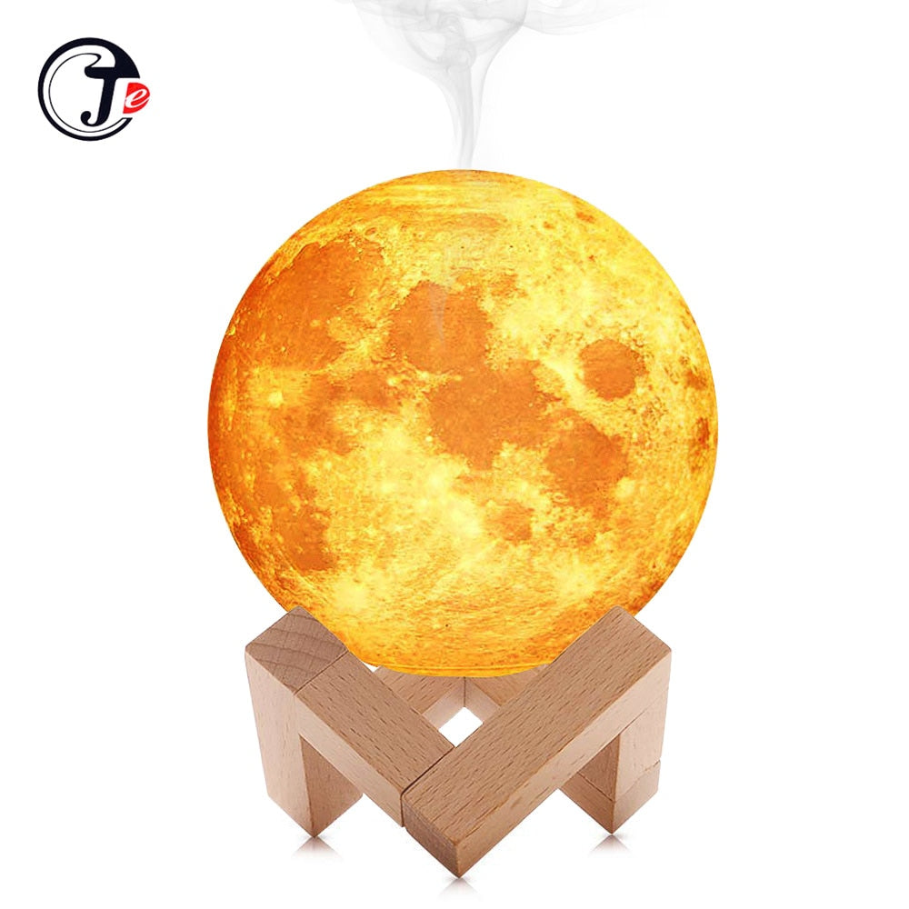New 880ML Air Humidifier 3D Moon Lamp light Diffuser Aroma Essential Oil USB Ultrasonic Humidificador Night Cool Mist Purifier - eBabyZoom