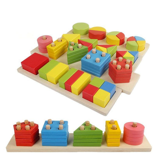 Montessori wooden block Teaching Aids Geometric - eBabyZoom