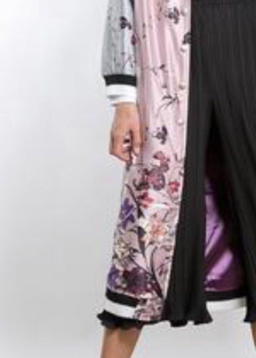 Flower Power Flight Longline  Satin Jacket