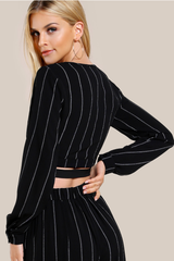 2 Piece Black Pin Striped Crop Top with Split Hem Palazzo Pants