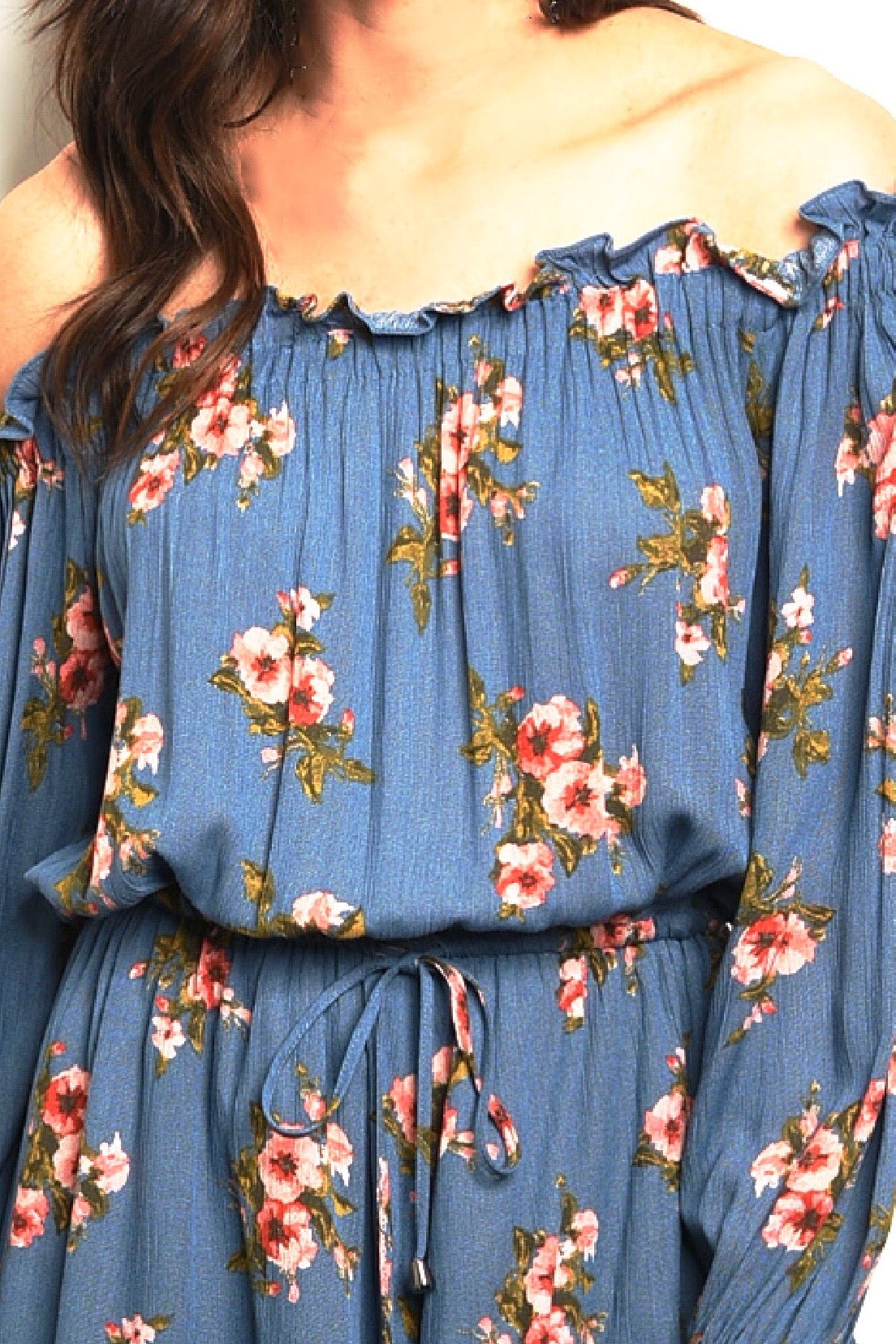 Just In Blue Floral Off The Shoulder Floral Romper