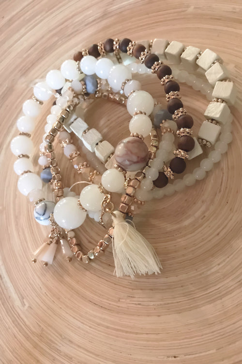 6 Stackable Boho Natural Stone Wood Crystal Bracelets