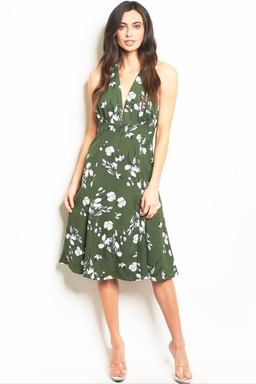 Wonder Floral Midi Halter Dress