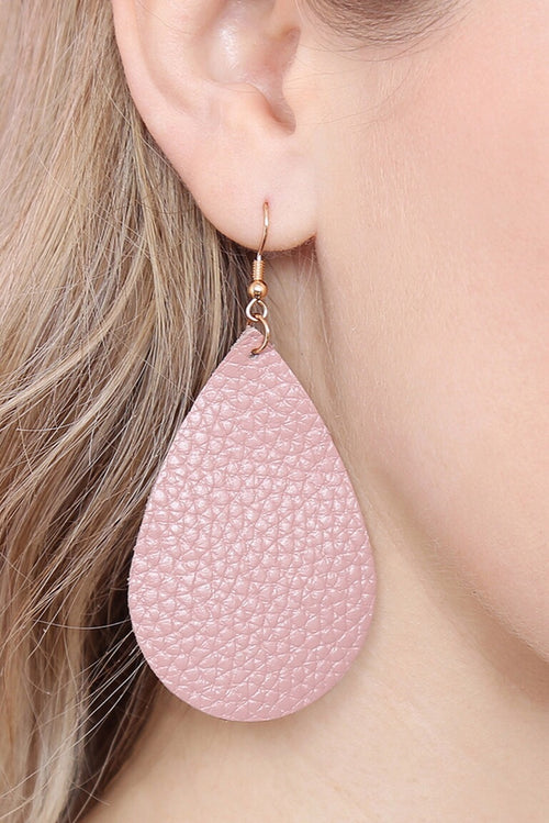 Leather Nude-Pink Teardrop Earrings