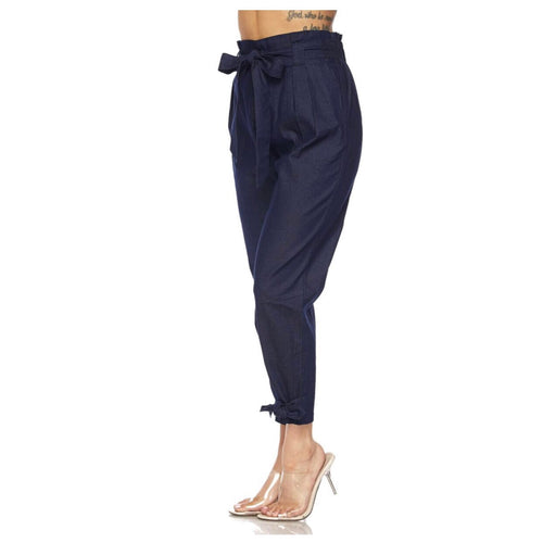Waist and Bow Paperbag Indigo Jeans