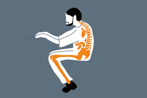 image of skeletal structure while slouching