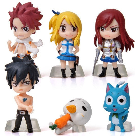 Fairy Tail Figurine Set - Includes Natsu, Gray, Erza, Lucy, Happy, Plue
