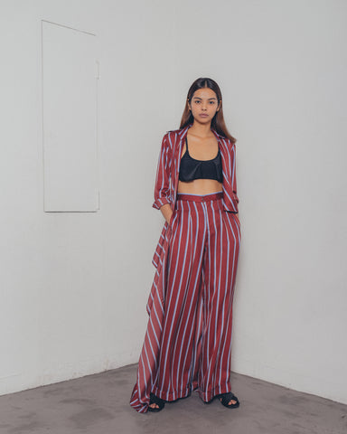 RED STRIPES TAILORED WIDE LEG PANTS