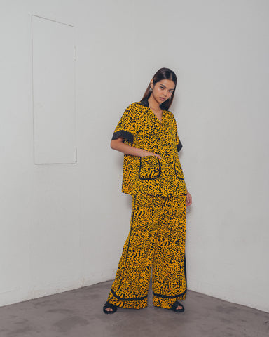 YELLOW LEOPARD PRINT WIDE LEG PANTS