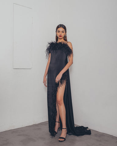 BLACK OSTRICH SIDE SLIT DRESS