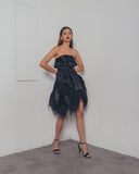 BLACK OSTRICH ORGANZA DRESS