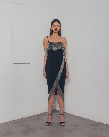 GUNMETAL TASSLE BLACK DRESS