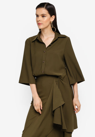 Olive Side Bias Shirt