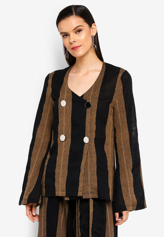 Striped Linen Double Breasted Top