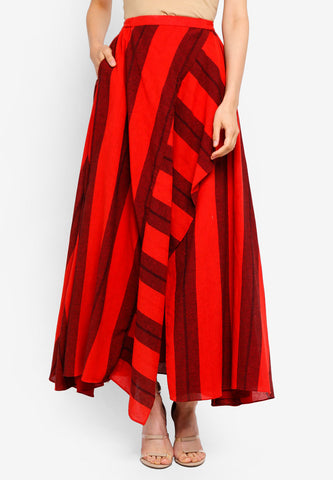 Striped Linen Side Draped Skirt