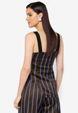 Pinstriped Side Slit Top