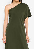 Olive Green One Shoulder Draped Top