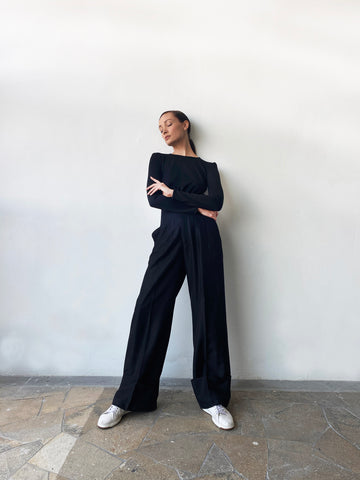 PRE-ORDER: BLACK LINEN TAILORED WIDE LEG PANTS