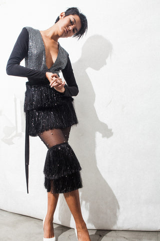 Metallic Plastic Fringe Skirt