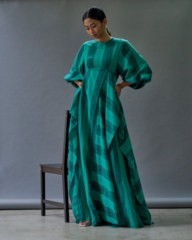 PRE-ORDER: GREEN STRIPE LINEN MAXI DRESS WITH SLIT