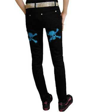 Blue Glitter Skull Pants - Strange Things Emporium