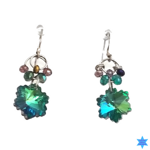 Green Flower Earrings - Strange Things Emporium
