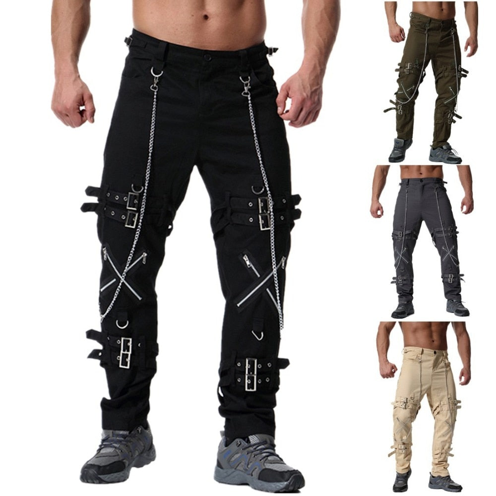 Cross Zipper Cargo Pants